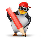 3d Penguin pencil Royalty Free Stock Photos