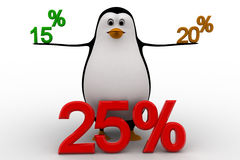 3d penguin with 15 20 and 25 percentage discount concept Royalty Free Stock Images