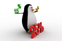 3d penguin with 15 20 and 25 percentage discount concept Royalty Free Stock Photos