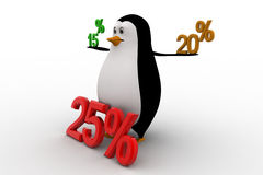 3d penguin with 15 20 and 25 percentage discount concept Royalty Free Stock Image