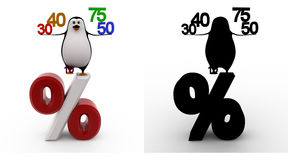 3d penguin with 30 40 50 75 percentage symbol concept collections with alpha and shadow channel Stock Photos