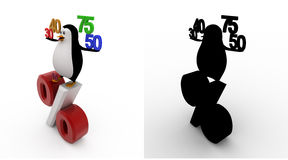 3d penguin with 30 40 50 75 percentage symbol concept collections with alpha and shadow channel Royalty Free Stock Images