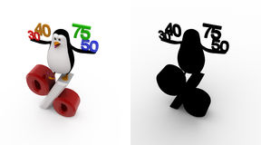 3d penguin with 30 40 50 75 percentage symbol concept collections with alpha and shadow channel Royalty Free Stock Photos