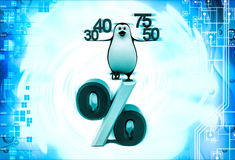 3d penguin with 30 40 50 75 percentage symbol illustration Stock Photography