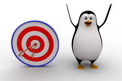 3d penguin with with perfectly aimed arrows on target board concept Stock Photo
