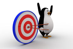3d penguin with with perfectly aimed arrows on target board concept Royalty Free Stock Photos