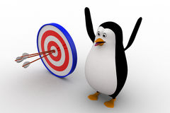 3d penguin with with perfectly aimed arrows on target board concept Royalty Free Stock Image