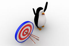 3d penguin with with perfectly aimed arrows on target board concept Stock Images