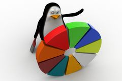3d penguin with pie chart illustration Royalty Free Stock Photo