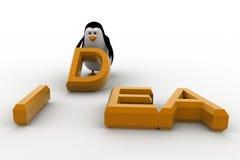 3d penguin placing letter D of idea concept Royalty Free Stock Photo