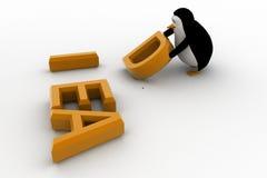 3d penguin placing letter D of idea concept Stock Images