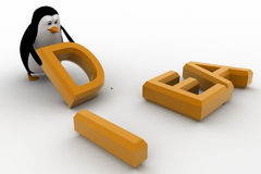 3d penguin placing letter D of idea concept Royalty Free Stock Photography