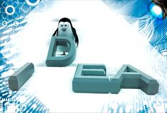 3d penguin placing letter D of idea illustration Stock Photo