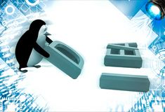 3d penguin placing letter D of idea illustration Royalty Free Stock Photo