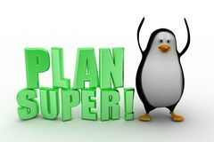 3d penguin with Plan super text Royalty Free Stock Images