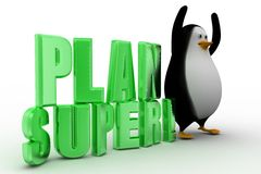 3d penguin with Plan super text Royalty Free Stock Photography