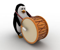 3d penguin play big american drum for announcement concept Stock Photo