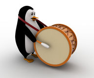 3d penguin play big american drum for announcement concept Royalty Free Stock Photos