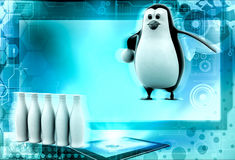 3d penguin play bowling concept Royalty Free Stock Photography