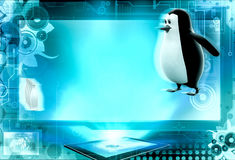 3d penguin play bowling concept Stock Photo