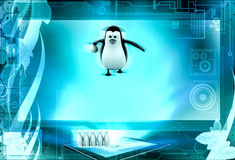 3d penguin play bowling concept Royalty Free Stock Photos