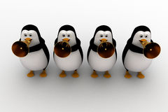 3d penguin play musical horn concept Royalty Free Stock Image