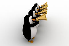 3d penguin play musical horn concept Royalty Free Stock Photography