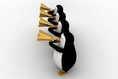 3d penguin play musical horn concept Stock Images
