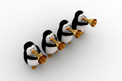 3d penguin play musical horn concept Stock Image