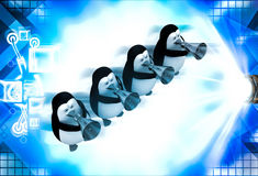 3d penguin play musical horn illustration Royalty Free Stock Image