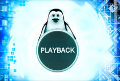 3d penguin with playback coin illustration Royalty Free Stock Photo