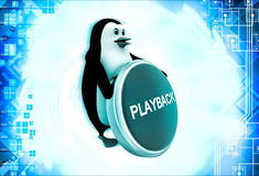 3d penguin with playback coin illustration Royalty Free Stock Images