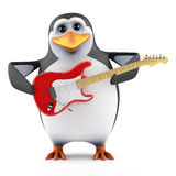 3d Penguin plays electric guitar Stock Images