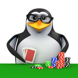 3d Penguin plays poker Stock Images