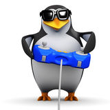 3d Penguin plays video games Royalty Free Stock Photo