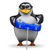 3d Penguin plays videogames. 3d render of an academic penguin playing a videogame Royalty Free Stock Image