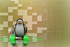 3d penguin with plug connections Illustration Royalty Free Stock Images