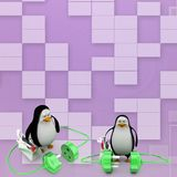 3d penguin with plug connections Illustration Royalty Free Stock Photography