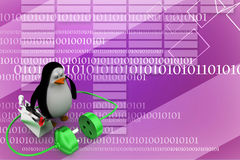3d penguin with plug connections Illustration Stock Image