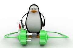 3d penguin with plug connections Stock Photography