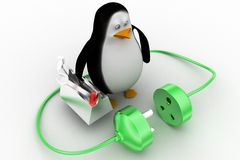 3d penguin with plug connections Stock Photo