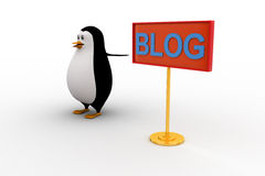 3d penguin pointing at BLOG sign board concept Royalty Free Stock Photography