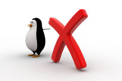 3d penguin pointing at red cross or wrong sign concept Royalty Free Stock Photo
