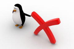 3d penguin pointing at red cross or wrong sign concept Stock Photo