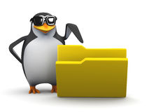 3d Penguin points to open folder Royalty Free Stock Images