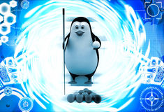 3d penguin with pool stick and balls to play pool illustration Royalty Free Stock Photography
