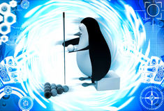 3d penguin with pool stick and balls to play pool illustration Stock Photos