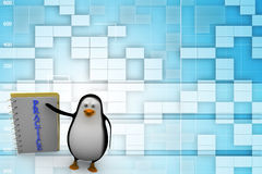 3d penguin with practice notepad Illustration Royalty Free Stock Photos