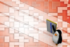3d penguin with practice notepad Illustration Royalty Free Stock Images
