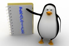 3d penguin with practice notepad Stock Photography